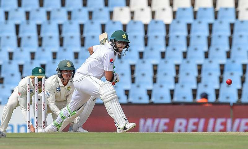 Imamul Haq plays a shot during day two of the Test match between South Africa and Pakistan. —AFP