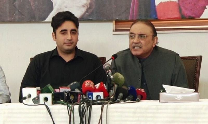 PPP Chairman Bilawal Bhutto and former president Asif Zardari are included in the list of people placed on ECL list. — File photo