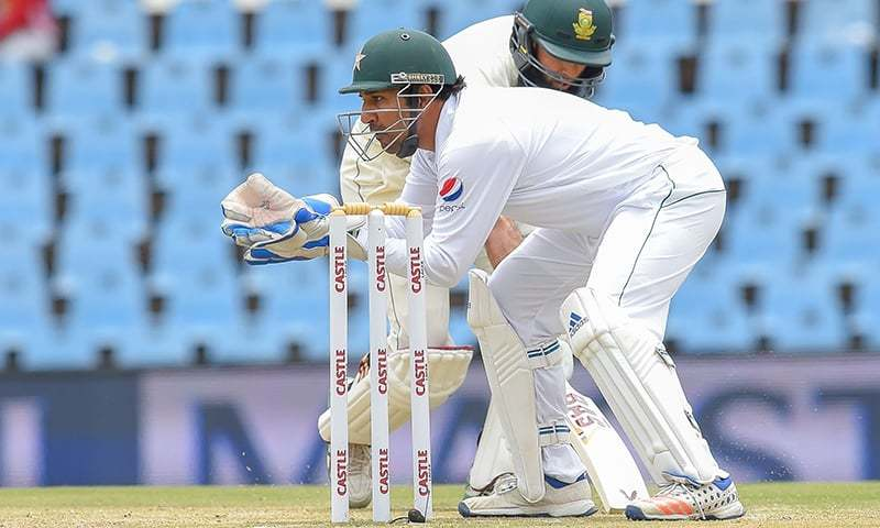 Sarfraz Ahmed fields at the stumps during day three of the first Test match between South Africa and Pakistan. —AFP