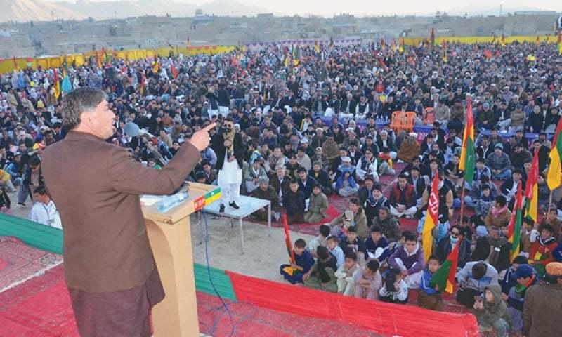 QUETTA: Hazara Democratic Party chairman Abdul Khaliq Hazara addresses a party gathering on Friday.—Online