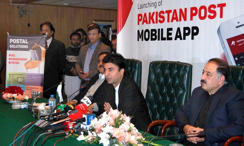 Federal Minister Murad Saeed addresses the launching ceremony of Pakistan Post mobile application. —APP
