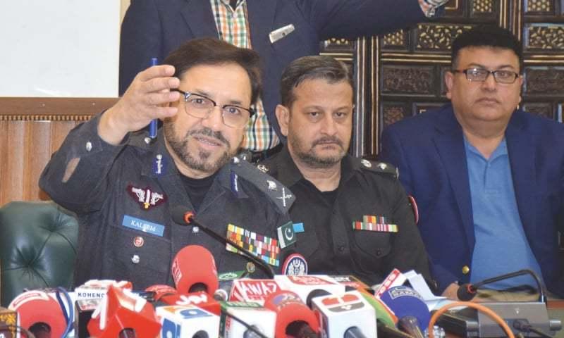 IGP Kaleem Imam speaks to the media in Hyderabad on Saturday.—Dawn