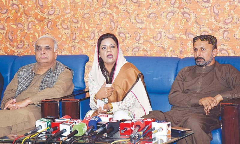 PPP-P information secretary Nafisa Shah speaks at the press conference in Hyderabad on Sunday.—Dawn