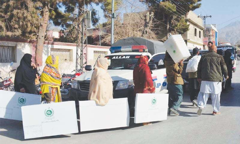 QUETTA: Election material for by-election in PB-26 constituency being brought to a polling station on Sunday.—INP