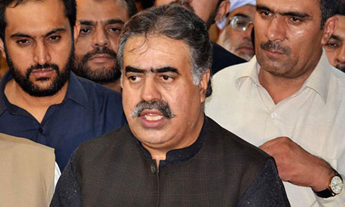Amidst a political crisis Nawab Sanaullah Zehri was forced to resign as the provincial chief minister as most of his own party's legislators abandoned him. — File photo