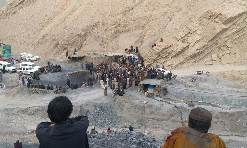 This file photo shows rescue efforts being made near a coal mine after a blast early in May 2018. — DawnNewsTV/File