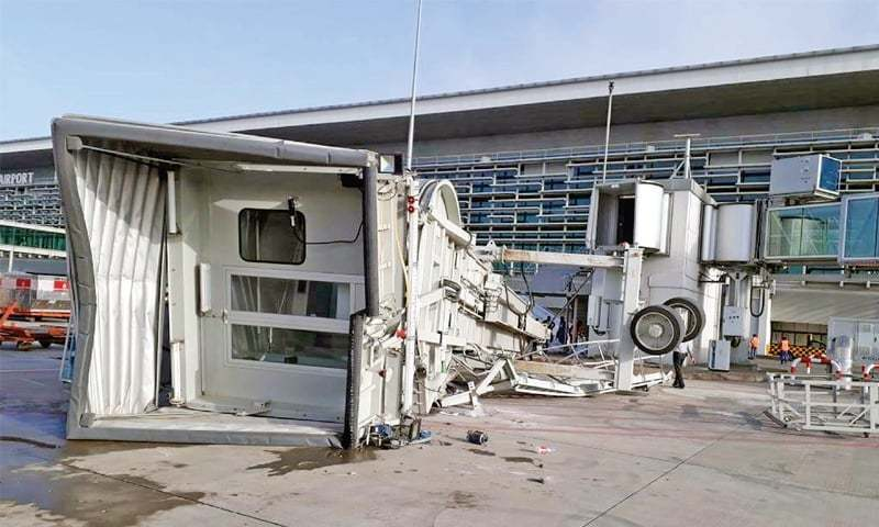 A passenger boarding bridge lies collapsed at the Islamabad International Airport. — File photo