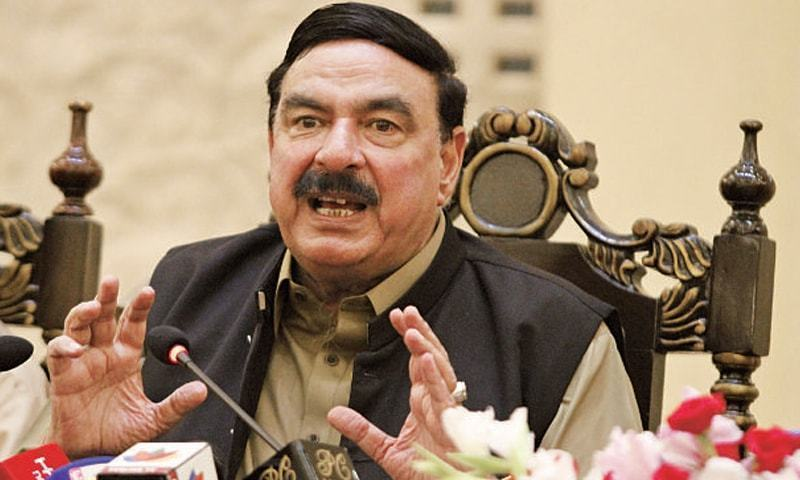 "Minister for Railways Sheikh Rashid assured the court that Pakistan Railways would not not sell ""even one marla of land"". ─ File photo"