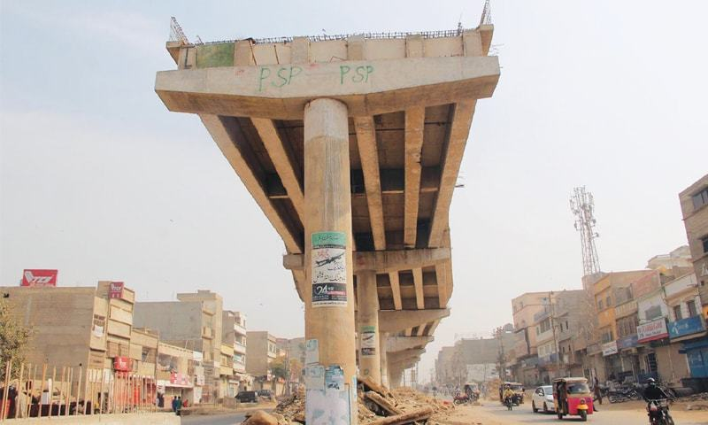 WORK on a section of the rapid bus project is stalled for reasons best known to the federal and Sindh governments.—Online