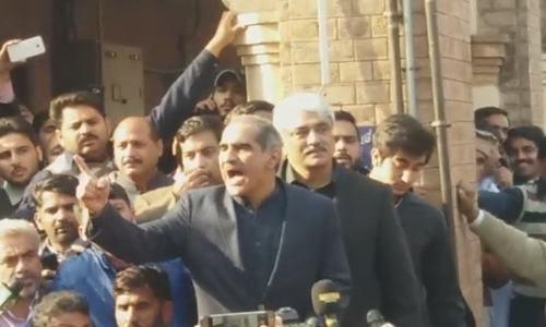File photo shows Khawaja Saad Rafique.— DawnNewsTV