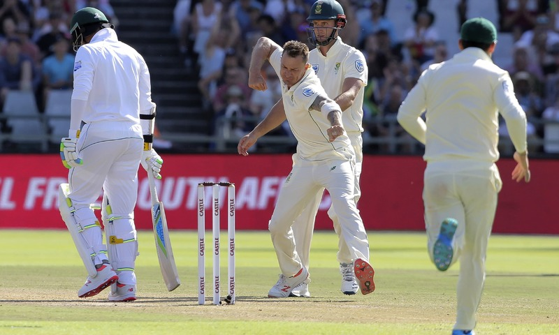 Dale Steyn celebrates the wicket of Mohammad Amir on day three of the second Test match. —AP
