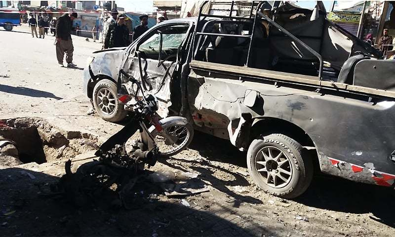 Two blasts in Balochistan on Sunday left 12 people injured, including three Levies personnel and a member of the Frontier Corps. ─ Photo courtesy Syed Ali Shah