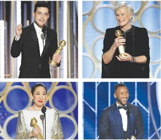 Beverly Hills (California, US): Rami Malek (top left), Glenn Close (top right), Sandra Oh (bottom left) and Mahershala Ali accept their awards.—Reuters