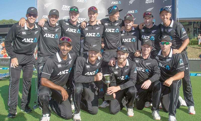 NELSON: Members of victorious New Zealand squad pose with the ODI series trophy at the Saxton Oval on Tuesday.—AFP