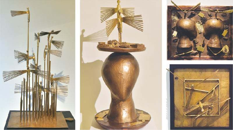 Four of the sculptures on display at the exhibition on Wednesday.—White Star
