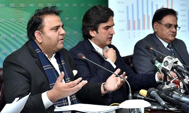 Information Minister Fawad Chaudhry addresses a press conference following the federal cabinet meeting on Thursday. —APP
