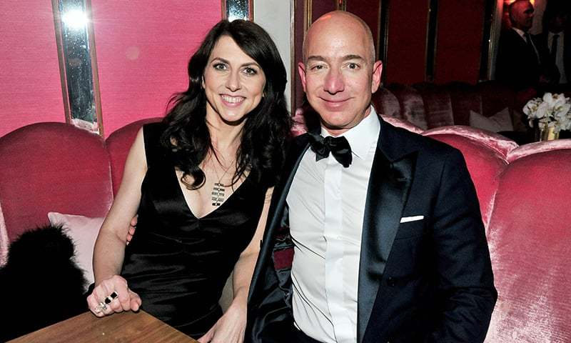 In this file photo taken on February 26, 2017, CEO of Amazon Jeff Bezos and his wife writer MacKenzie Bezos attend the Amazon Studios Oscar Celebration at Delilah in West Hollywood. ─ AFP