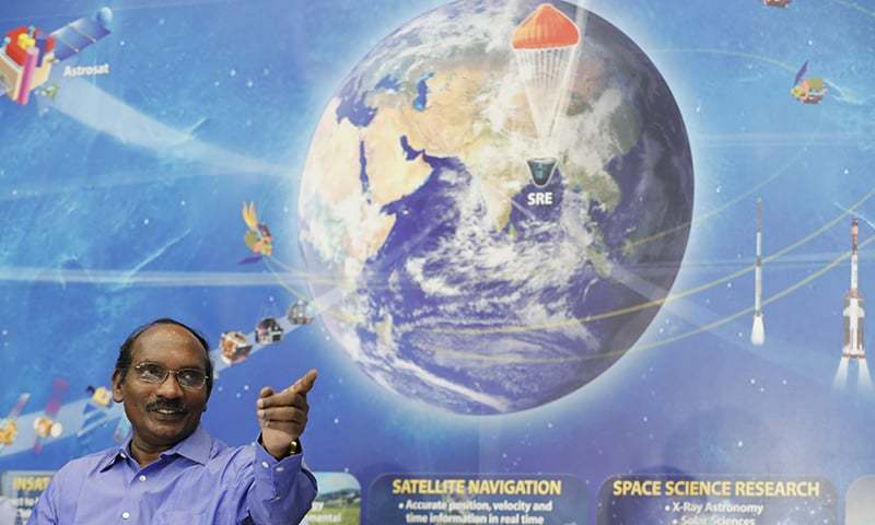 Indian Space Research Organization (ISRO) Chairman Kailasavadivoo Sivan gestures during a press conference at their headquarters in Bangalore, India on Friday. — AP