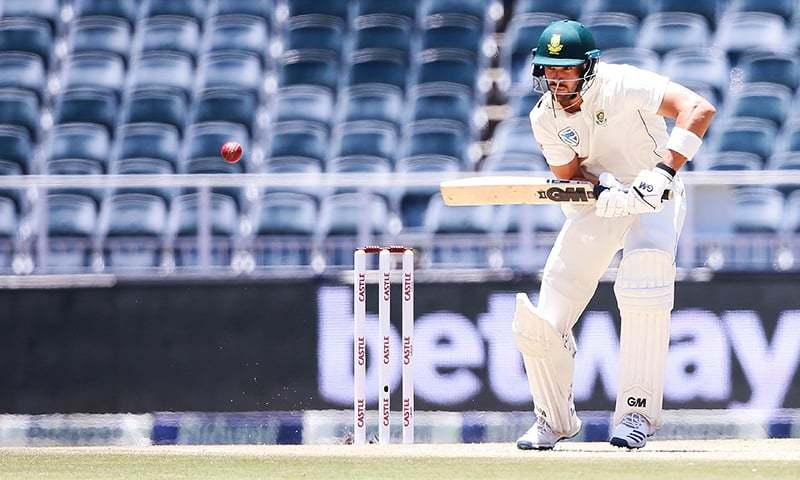 South African batsman Aiden Markram plays a shot during the first day of the third Cricket Test match.—AFP
