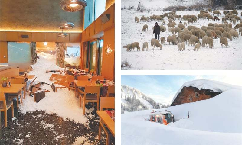 AN avalanche crashes into a hotel (left) in the Swiss Alps on Thursday. A shepherd leads a herd of sheep (top right) over snow-covered meadows near Beska, 30kms north of Belgrade, Serbia. A snow-blower makes its way on the Loferer Alp in the Austrian province of Salzburg on Friday.—AP
