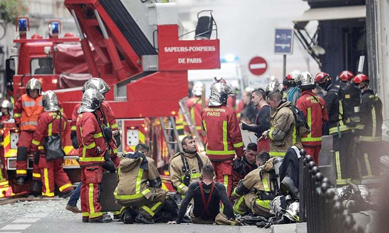 Firefighters had been responding to an alert of a gas leak at the site when the explosion occurred. —AFP