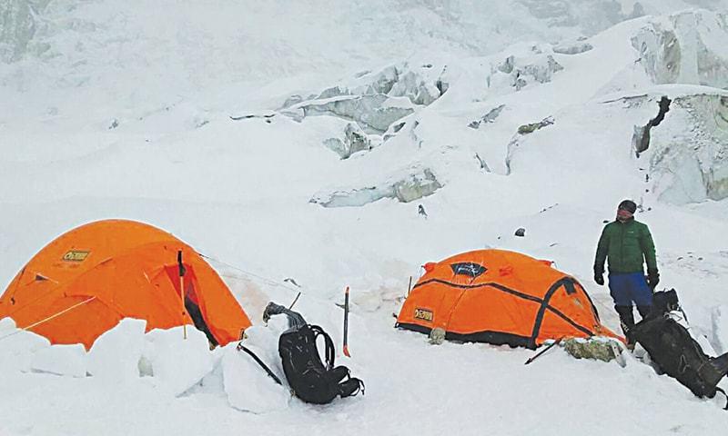 A Nanga Parbat expedition team at the base camp.