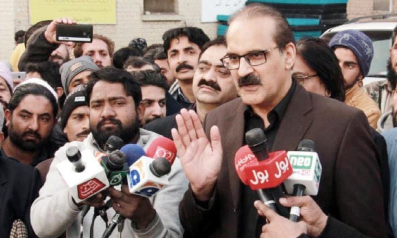 Minister for National Health Services Aamer Mehmood Kiani talks to the media at Holy Family Hospital in Rawalpindi on Sunday. — INP