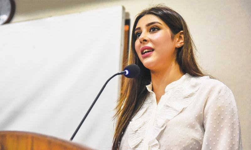 ACTRESS Aditi Singh speaks at the press club on Wednesday.—White Star
