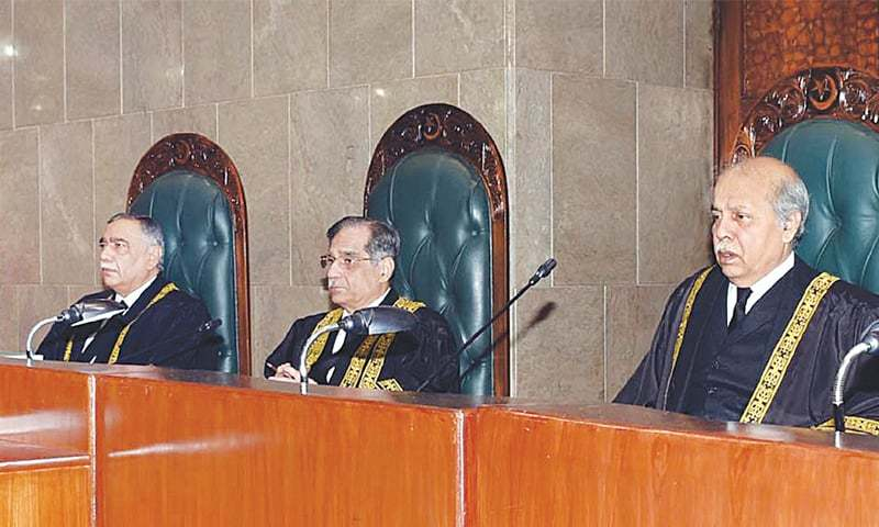 Islamabad: Chief Justice Mian Saqib Nisar presiding over a full-court reference held in his honour on Thursday. Chief Justice-designate Asif Saeed Khosa (left) is also seen.—White Star