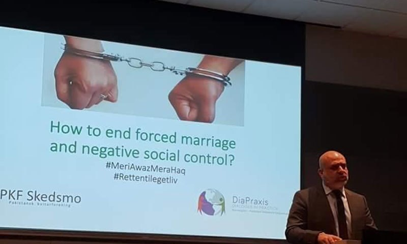 Pakistani public policy and gender reforms specialist Salman Sufi at the launch event of the anti-forced marriage campaign.