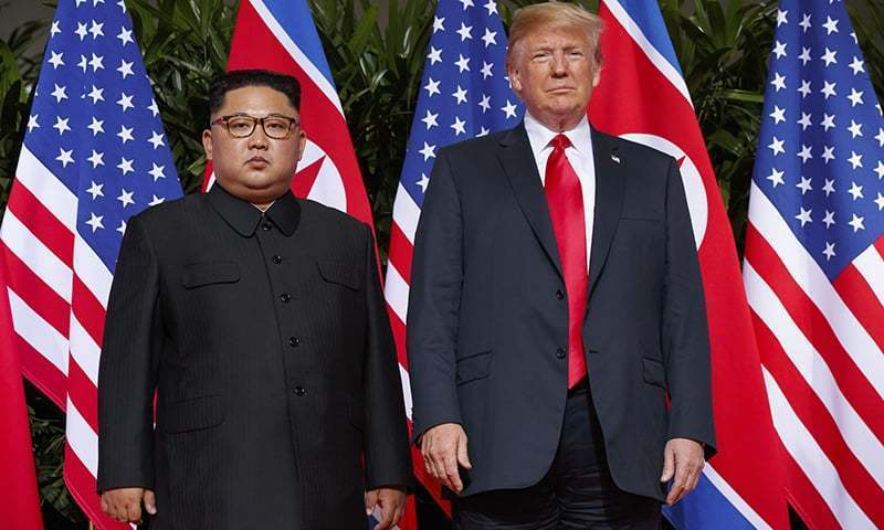 In this June 12, 2018, file photo, US President Donald Trump meets with North Korean leader Kim Jong Un on Sentosa Island, in Singapore.  — AP
