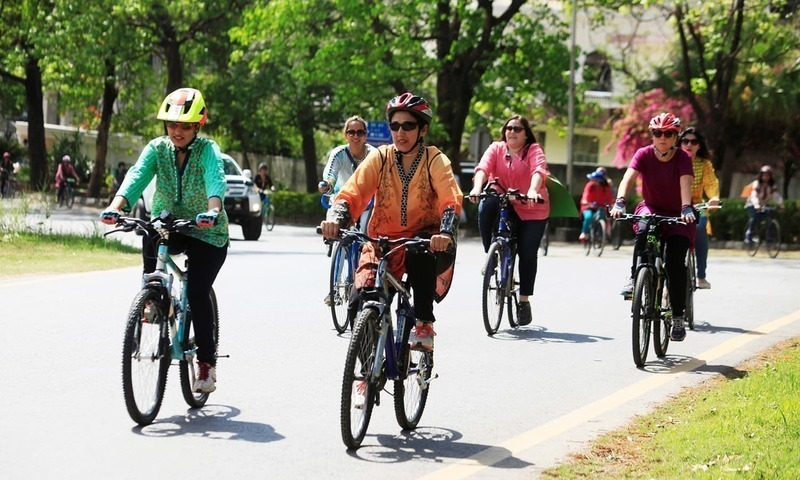 Women ride bicycles while taking part in Girls on Bike rally in Islamabad. ─ Reuters/File
