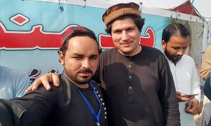 Alamzaib Khan (centre), who was arrested on Monday by police, has been described as leading a campaign against missing persons and the use of landmines. Photo: Twitter/@zohrakhan1222