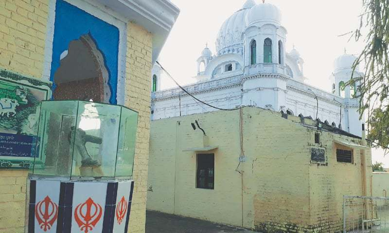 THE piece of the bomb on display near the sacred well at Gurdwara Darbar Sahib.—Photo by writer