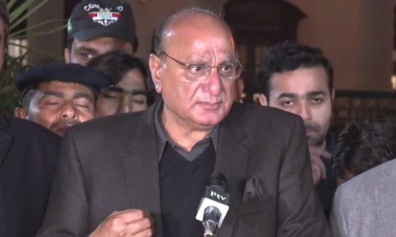 Punjab Law Minister Raja Basharat talks to reporters in Lahore on Tuesday. — DawnNewsTV