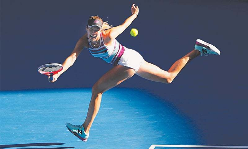 MELBOURNE: Danielle Collins of the US in action during the quarter-final against Russia's Anastasia Pavlyuchenkova at the Australian Open on Tuesday.—Reuters