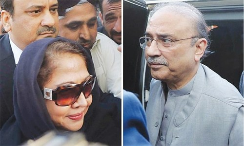 Faryal Talpur and Asif Ali Zardari are both suspects in the fake accounts case and are named in the JIT report. — File photo