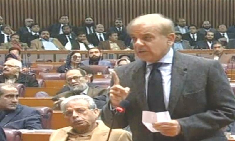 LEADER of the Opposition in the National Assembly Shahbaz Sharif speaking on the floor of the house.