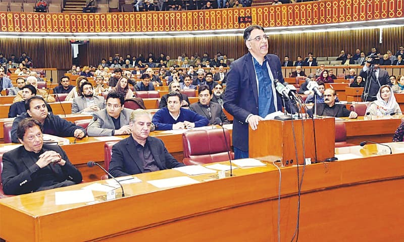 FEDERAL Minister for Finance, Revenue and Economic Affairs Asad Umar presenting the Finance Supplementary Bill in the National Assembly on Wednesday.—PPI