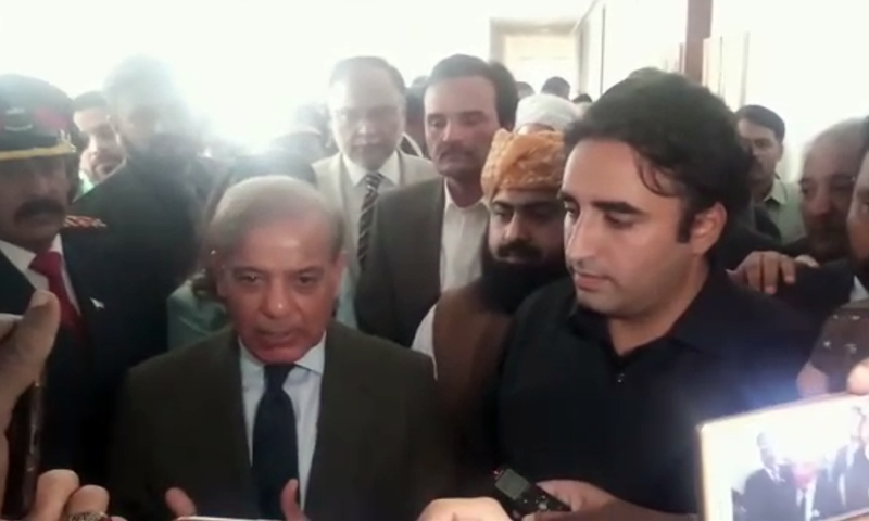 PML-N President Shahbaz Sharif and PPP Chairman Bilawal Bhutto talk to media inside Parliament House. — File photo