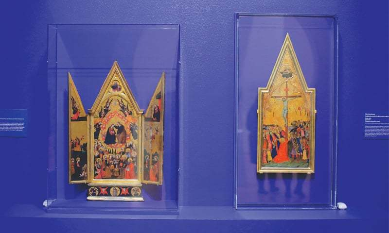 Evanston (Illinois, US): Paintings on panels titled 'Coronation of the Virgin' and 'The Crucifixion' are displayed at the exhibition Caravans of Gold, Fragments in Time: Art, Culture and Exchange across Medieval Saharan Africa on Saturday.—AFP