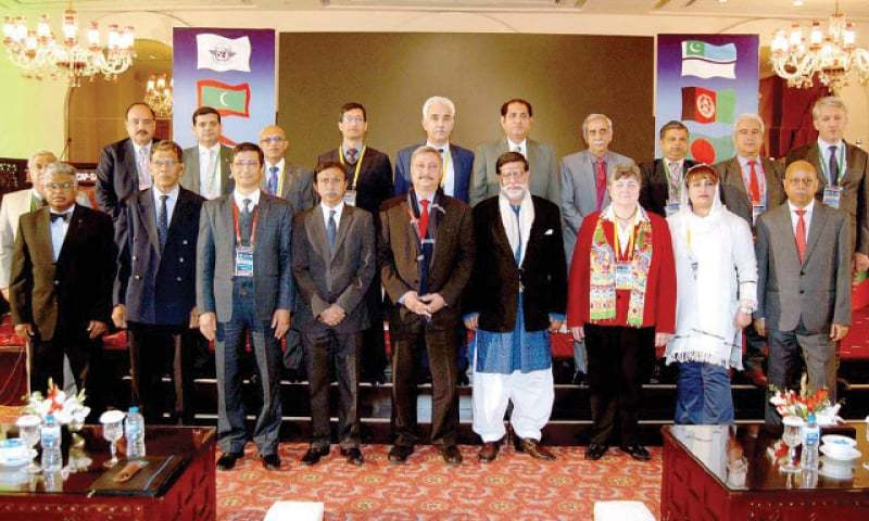Minister for Aviation and Privatisation Mohammadmian Soomro with delegates of the 27th meeting of steering committee of Coscap-SA in Islamabad on Tuesday. — APP