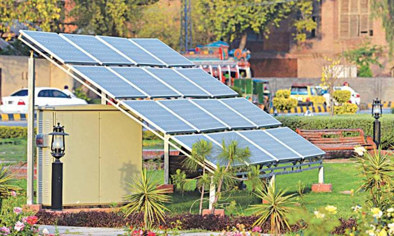 PESHAWAR: Solar panels installed at a park to meet lighting needs. — File photo