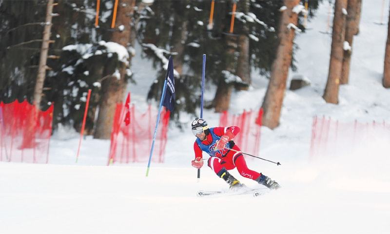 NALTAR: A foreign skier in action during a race of the third Chief of Air Staff Karakoram International Alpine Ski Cup at the PAF's ski resort here on Tuesday. Skiers from 12 countries, apart from Pakistan, are taking part in the competition. On the opening day, a Turkish skier clinched the first position in the men's giant slalom event while Ukrainian contestants took the second and third positions. In the women's event, Ukraine grabbed the first and second places while Pakistan's Umama Wali came third.
