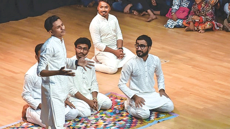 Young artists perform dastaan goi during the programme.—Fahim Siddiqi/White Star