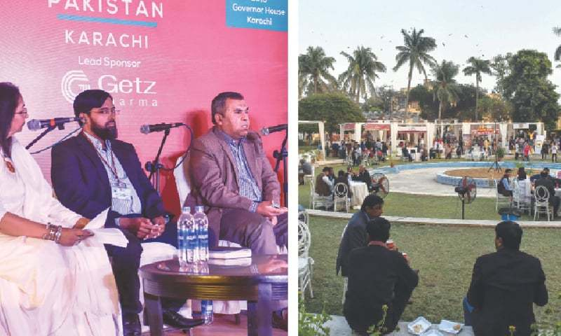 PANELLISTS discuss the impact of the anti-encroachment drive while (right) attendees of the festival relax on the grounds of Governor House on Friday.—Fahim Siddiqi/White Star