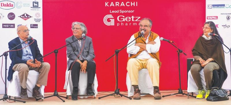PANELLISTS discussing Karachi of yesteryear share a light moment at the Adab Festival on Saturday.—Fahim Siddiqi/White Star
