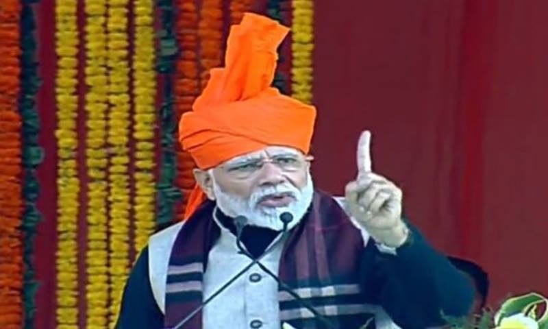 India's PM Narendra Modi speaking at an event in occupied Kashmir on Sunday. — Photo courtesy BJP's Twitter account