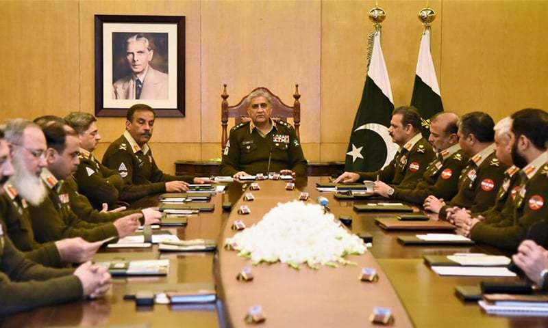 The 218th Corps Commanders' Conference, held at the General Headquarters in Rawalpindi, was presided over by Chief of the Army Staff Gen Qamar Javed Bajwa. — Photo courtesy DG ISPR Twitter
