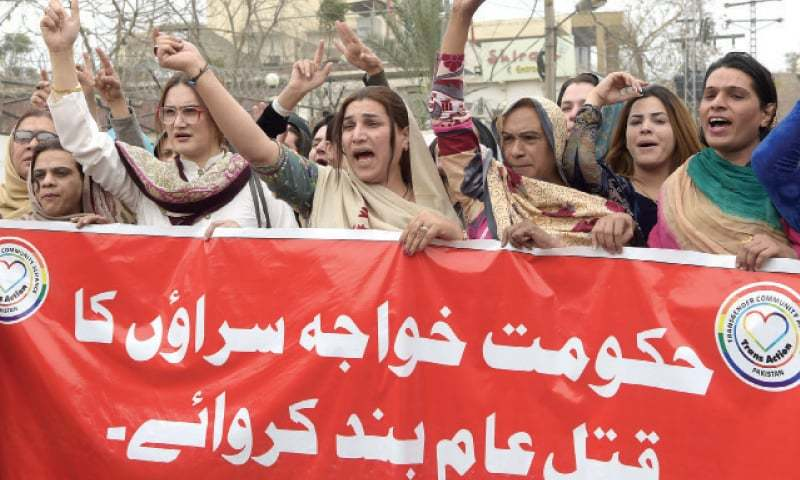 Transgender persons stage a protest  in Peshawar on Monday against killing of their community member. — White Star